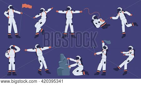 Astronaut Character. Cartoon Spaceman Wearing Spacesuit In Outer Space Explore Cosmos Vector Illustr
