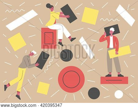 People With Abstract Geometric Shapes. Teamwork Concept, Business Characters Collecting Geometric Fi