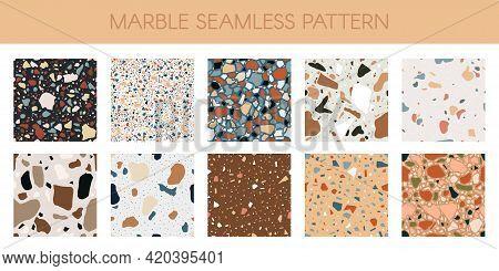 Marble Texture Pattern. Abstract Quartz, Granite And Glass Flooring Mosaic Textures Vector Illustrat