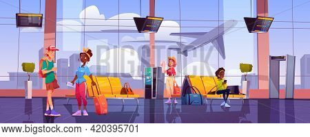 Airport Terminal With Waiting People, Chairs, Luggage, Security Scanner And Schedule Display. Vector