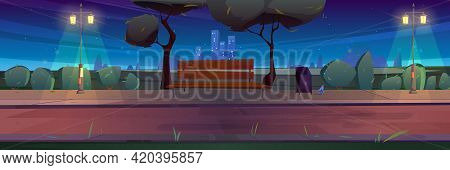 Bench In Night Park, Summer Landscape With City View Background, Empty Public Place For Walking And