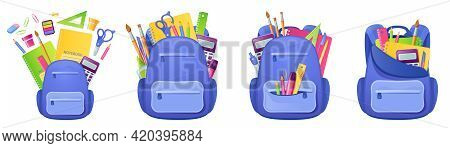 School Bag With Studying Supplies And Stationery Inside. Backpack With Notebook, Paints And Pen Or P