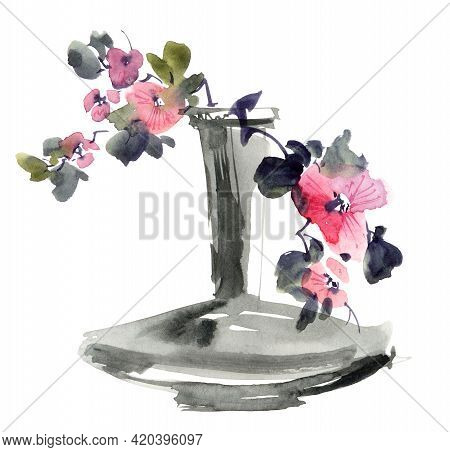 Watercolor Illustration Of Bouquet With Flowers, Buds And Leaves. Oriental Traditional Painting In S