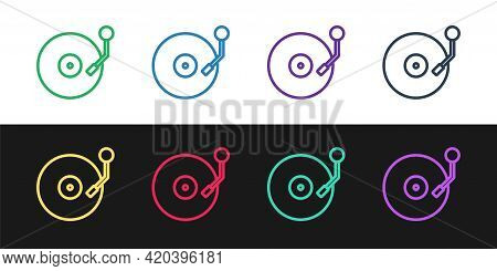 Set Line Vinyl Player With A Vinyl Disk Icon Isolated On Black And White Background. Vector