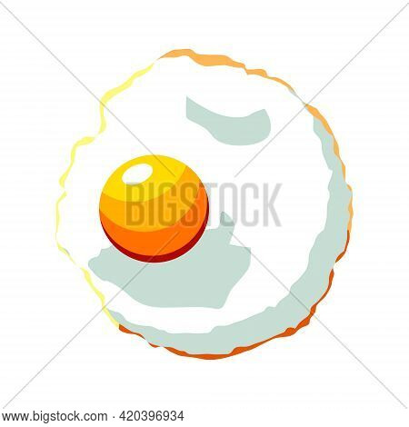 Scrambled Eggs, Fried Egg With A Round Yolk. Vector Isolated On A White Background.