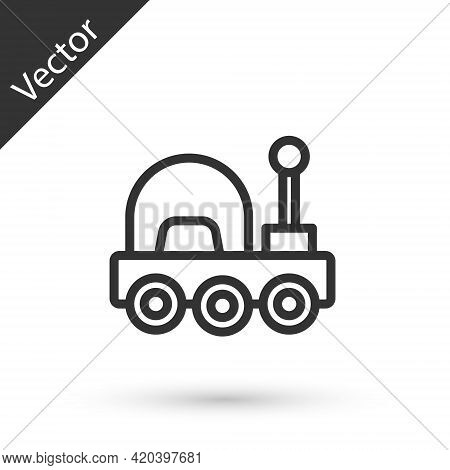 Grey Line Mars Rover Icon Isolated On White Background. Space Rover. Moonwalker Sign. Apparatus For