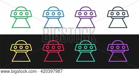 Set Line Ufo Flying Spaceship Icon Isolated On Black And White Background. Flying Saucer. Alien Spac