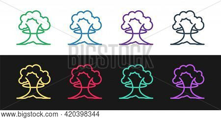 Set Line Nuclear Explosion Icon Isolated On Black And White Background. Atomic Bomb. Symbol Of Nucle