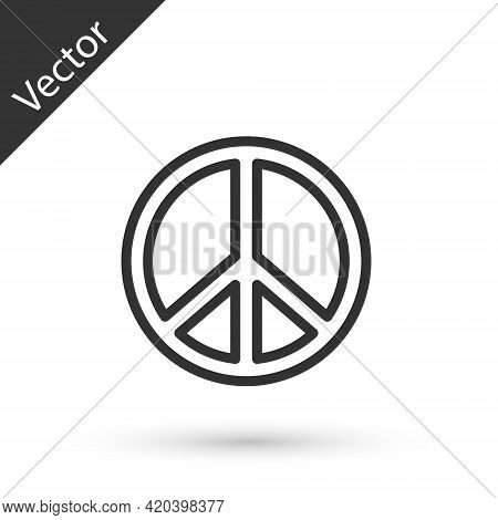Grey Line Peace Icon Isolated On White Background. Hippie Symbol Of Peace. Vector