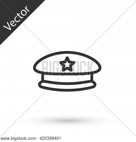 Grey Line Military Beret Icon Isolated On White Background. Soldiers Cap. Army Hat. War Baret. Vecto