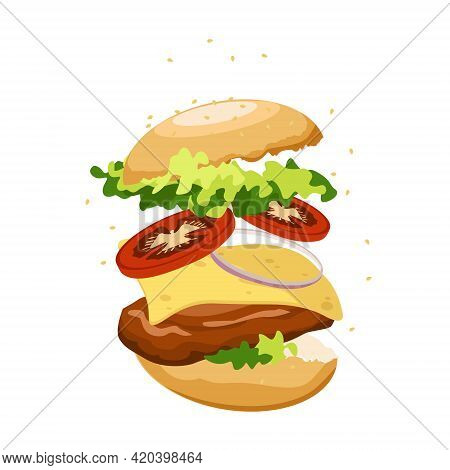 Vector Juicy Burger With Cutlet, Cheese, Lettuce, Onion And Tomatoes. Isolate On A White Background