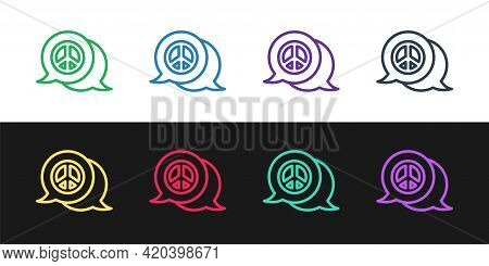 Set Line Peace Icon Isolated On Black And White Background. Hippie Symbol Of Peace. Vector
