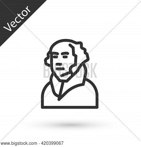 Grey Line George Washington Icon Isolated On White Background. Vector