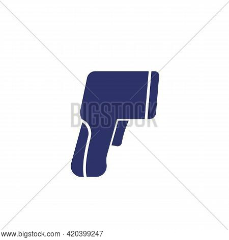 Infrared Thermometer Gun Icon On White, Vector