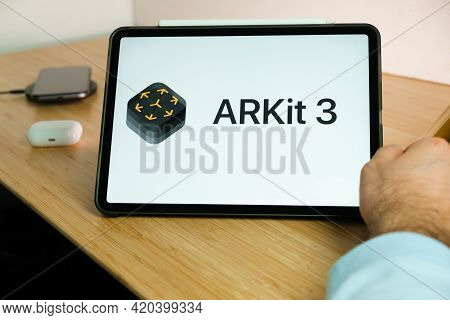Apple Arkit 3 Logo On The Screen Of Ipad Tablet. March 2021, San Francisco, Usa
