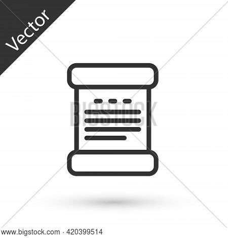 Grey Line Declaration Of Independence Icon Isolated On White Background. Vector