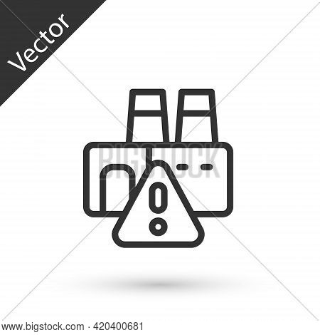 Grey Line Shutdown Of Factory Icon Isolated On White Background. Industrial Building. Vector