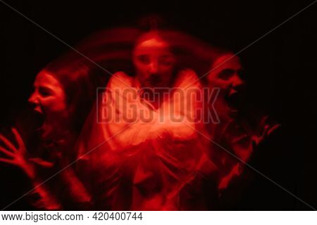 Blurry Female Portrait Of A Psychotic With Bipolar And Schizophrenic Disorders
