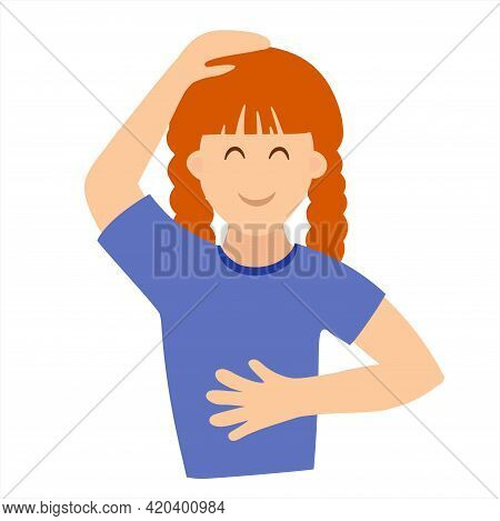 The Girl Does Self-massage Of The Head And Abdomen. Vector Illustration In Flat Style
