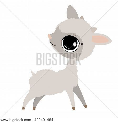 Little Baby Lamb. Ram. Sheep. Isolated Object On A White Background. Cheerful Kind Animal Child. Car