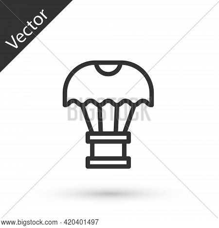 Grey Line Box Flying On Parachute Icon Isolated On White Background. Parcel With Parachute For Shipp