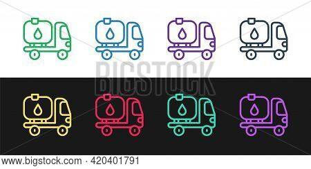Set Line Fuel Tanker Truck Icon Isolated On Black And White Background. Gasoline Tanker. Vector