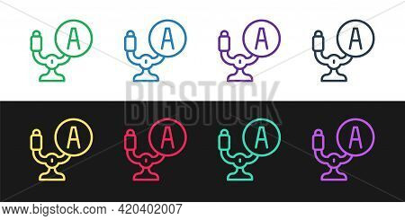 Set Line Aircraft Steering Helm Icon Isolated On Black And White Background. Aircraft Control Wheel.