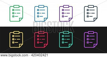 Set Line Clipboard With Checklist Icon Isolated On Black And White Background. Control List Symbol.