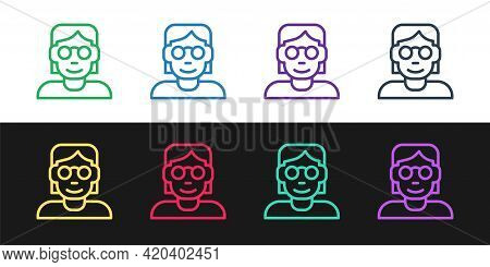 Set Line Hacker Or Coder Icon Isolated On Black And White Background. Programmer Developer Working O