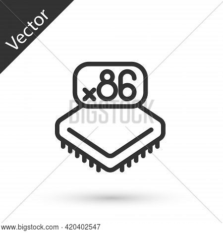 Grey Line Computer Processor With Microcircuits Cpu Icon Isolated On White Background. Chip Or Cpu W