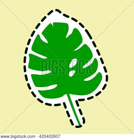Monstera Leaf Icon Isolated On Yellow Background