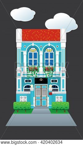 A Beautiful And Exquisite Heritage Shop House, With Front Gate. Vector, Isolated With Plain Color Ba