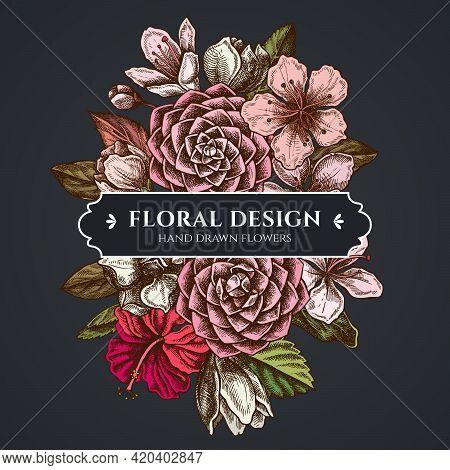 Floral Bouquet Dark Design With Hibiscus, Plum Flowers, Peach Flowers, Sakura Flowers, Magnolia Flow