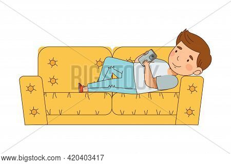 Cute Boy Lying On Sofa Gazing In Smartphone Vector Illustration