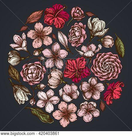 Round Floral Design On Dark Background With Hibiscus, Plum Flowers, Peach Flowers, Sakura Flowers, M