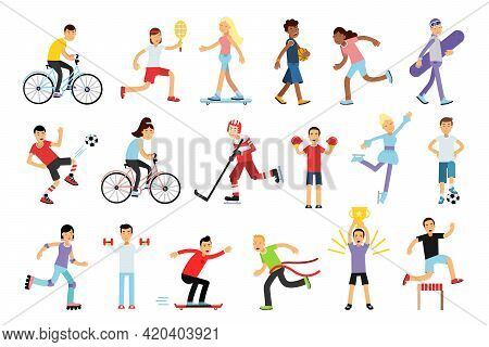 Young Energetic Man And Woman Doing Sport Activity Vector Illustration Set