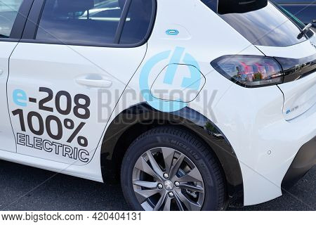 Bordeaux , Aquitaine France - 05 08 2021 : Peugeot 208 E-208 Electric Car Vehicle Produced By The Fr