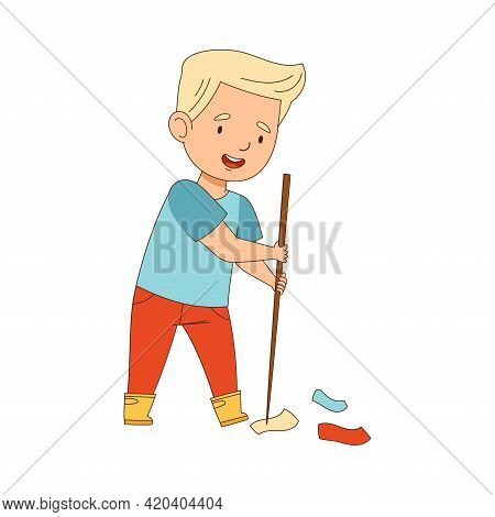 Cheerful Blond Boy Enjoying Spring Season Engaged In Litter Pick Gathering Rubbish With Stick Vector