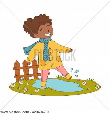 Happy Girl In Coat And Rubber Boots Walking In Puddle Engaged In Spring Season Activity Vector Illus
