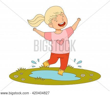 Happy Girl With Ponytail Jumping With Joy Splashing In Puddle Engaged In Spring Season Activity Vect