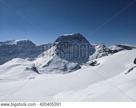 View From Gemsfairen To Toedi Piz Russein. Fantastic Winter Mountain Landscape In Glarus. Ski Mounta
