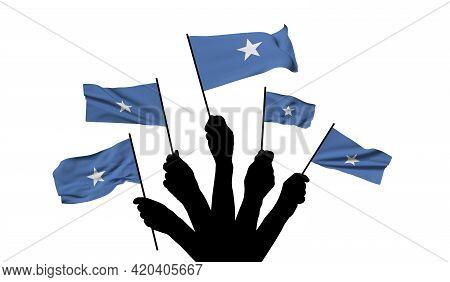 Somalia National Flag Being Waved. 3d Rendering