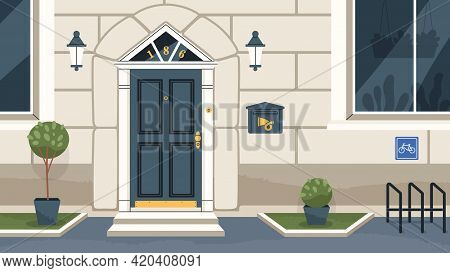 Modern House Exterior With Classic Front Door, Mailbox, Windows, Lanterns, Potted Plants, And Bicycl
