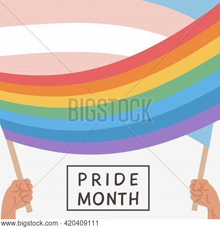 Vector Banner With Lgbt Rainbow And Transgender Flag. Social Media Post, Story Or Poster Template Wi