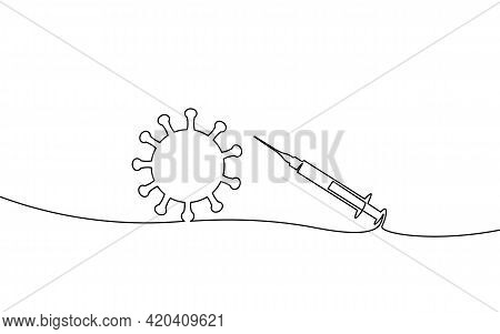 Vaccine Syringe One Single Line Art Concept. Pandemic Covid Coronavirus Safe Hand Drawn Sketch. Inje