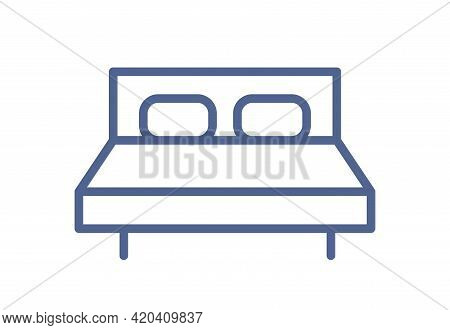 Simple Double Bed Icon With Mattress And Pillows. Accommodation With Bedroom Sign For Web Interface.