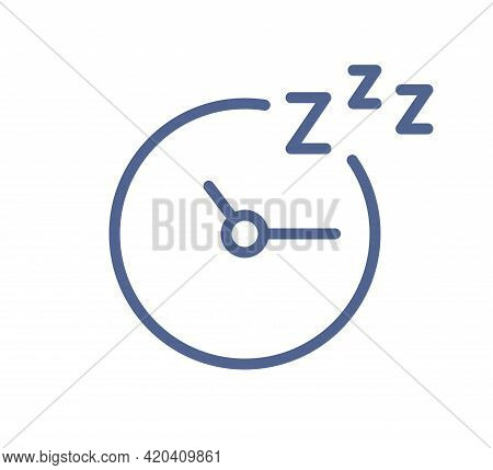 Simple Lineart Clock Icon With Arrows At Night Sleeping Time. Bedtime Symbol In Line Art Style. Pict