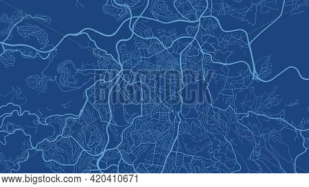 Dark Blue Jerusalem City Area Vector Background Map, Streets And Water Cartography Illustration. Wid