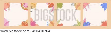 Bohemian Summer Sale Poster Template Set With Tropic Palm Leaves And Abstract Shapes. Social Media P