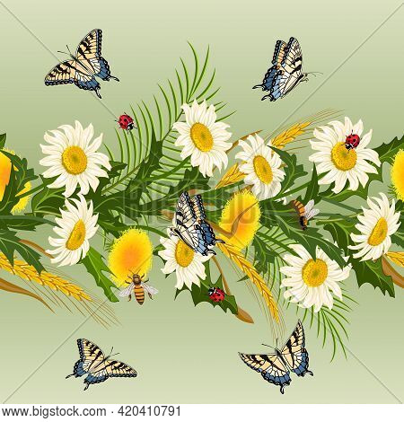 Flowers And Butterflies In A Pattern.chamomiles, Dandelions And Insects On A Colored Background In A